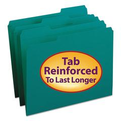 File Folders, 1/3 Cut, Reinforced Top Tab, Letter, Teal, 100/Box