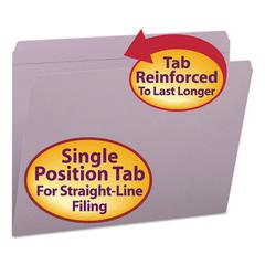 Smead File Folders, Straight Cut, Reinforced Top Tab, Letter, Lavender, 100/Box