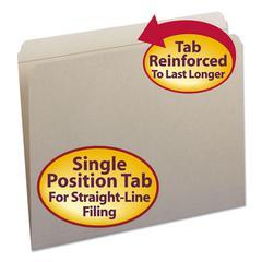 Smead File Folders, Straight Cut, Reinforced Top Tab, Letter, Gray, 100/Box