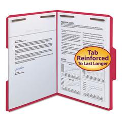 "WaterShed/CutLess Folder, Top Tab, 2 Fasteners, 3/4"" Exp., Letter, Red, 50/Box"