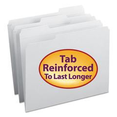 File Folders, 1/3 Cut, Reinforced Top Tab, Letter, White, 100/Box