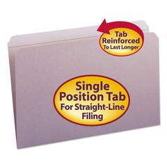 Smead File Folders, Straight Cut, Reinforced Top Tab, Legal, Lavender, 100/Box