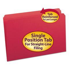 Smead File Folders, Straight Cut, Reinforced Top Tab, Legal, Red, 100/Box