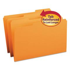File Folders, 1/3 Cut, Reinforced Top Tab, Legal, Orange, 100/Box