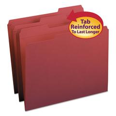 Smead File Folders, 1/3 Cut, Reinforced Top Tab, Letter, Maroon, 100/Box