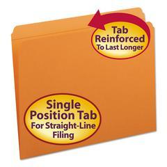 File Folders, Straight Cut, Reinforced Top Tab, Letter, Orange, 100/Box