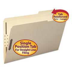 Folder, Two Fasteners, 2/5 Cut Right, Top Tab, Legal, Manila, 50/Box
