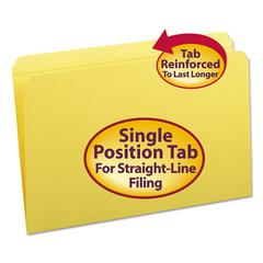 File Folders, Straight Cut, Reinforced Top Tab, Legal, Yellow, 100/Box