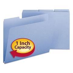 Recycled Folders, One Inch Expansion, 1/3 Cut Top Tab, Letter, Blue 25/Box