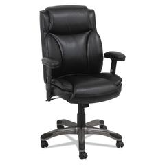 Alera Veon Series Leather MidBack Manager's Chair w/Coil Spring Cushioning,Black