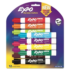 Low Odor Dry Erase Vibrant Color Markers, Assorted Colors, Medium, 12/Set