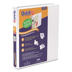 """Stride QuickFit D-Ring View Binder, 1"""" Capacity, 8 1/2 x 11, White"""