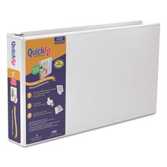 """QuickFit Ledger D-Ring View Binder, 2"""" Capacity, 11 x 17, White"""