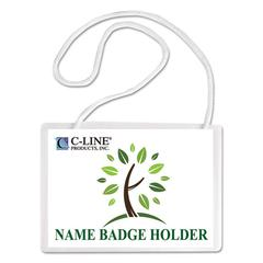 C-Line Specialty Name Badge Holder Kits, 4 x 3, White, 50/Box