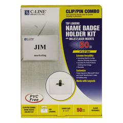 C-Line Name Badge Kits, Top Load, 4 x 3, Clear, Combo Clip/Pin, 50/Box