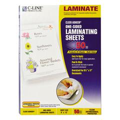 "C-Line Cleer Adheer Self-Adhesive Laminating Film, 3 mil, 9"" x 12"", 50/Box"