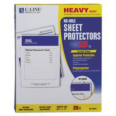 "Top-Load No-Hole Polypropylene Sheet Protector, Heavyweight, Clear, 2"", 25/Box"
