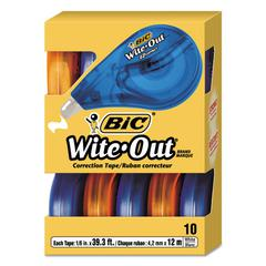 "BIC Wite-Out EZ Correct Correction Tape, Non-Refillable, 1/6"" x 472"", 10/Box"