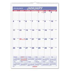 AT-A-GLANCE Monthly Wall Calendar with Ruled Daily Blocks, 8 x 11, White, 2017