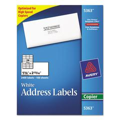 Copier Address Labels, 1 3/8 x 2 13/16, White, 2400/Box