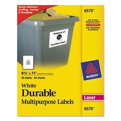Avery Permanent ID Labels w/TrueBlock Technology, Laser, 8 1/2 x 11, White, 50/Pack