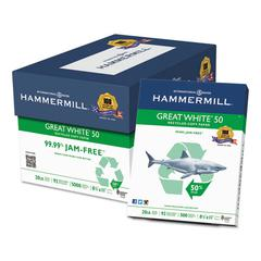 Great White 50 Recycled Copy Paper, 20-lb., 8-1/2 x 11, White, 5000/Carton