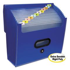 """13-Pocket Ladder Expanding File, 10"""" Expansion, 13 Sections, 1/13-Cut Tab, Letter Size, Blue"""