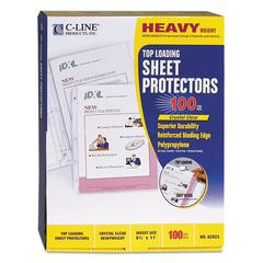 "C-Line Heavyweight Polypropylene Sheet Protector, Clear, 2"", 11 x 8 1/2"