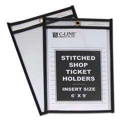 "C-Line Shop Ticket Holders, Stitched, Both Sides Clear, 50"", 6 x 9, 25/BX"