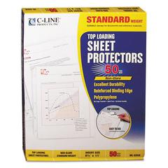 "C-Line Standard Weight Polypropylene Sheet Protector, Non-Glare, 2"", 11 x 8 1/2, 50/BX"