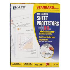 "Standard Weight Polypropylene Sheet Protector, Clear, 2"", 11 x 8 1/2, 50/BX"