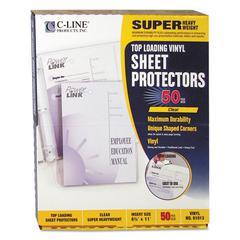 "C-Line Super Heavyweight Vinyl Sheet Protector, Clear, 2"", 11 x 8 1/2, 50/BX"