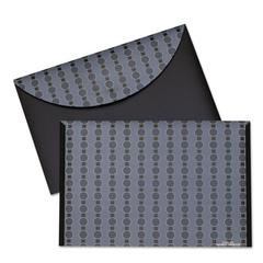 Circle Pattern Expanding File, Letter, 1-Pocket, Reusable Envelope, Black/Gray