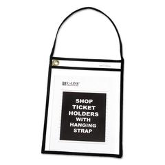 "Shop Ticket Holder with Strap, Black, Stitched, 75"", 9 x 12, 15/BX"