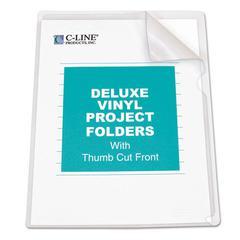 C-Line Deluxe Project Folders, Jacket, Letter, Vinyl, Clear, 50/Box