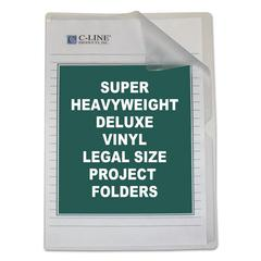 Deluxe Project Folders, Jacket, Legal, Vinyl, Clear, 50/Box