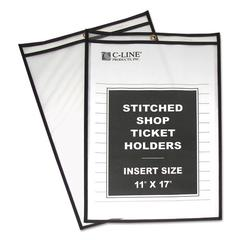 "C-Line Shop Ticket Holders, Stitched, Both Sides Clear, 75"", 11 x 17, 25/BX"