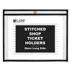 "C-Line Shop Ticket Holders, Stitched, Both Sides Clear, 75"", 12 x 9, 25/BX"