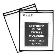 "C-Line Shop Ticket Holders, Stitched, Both Sides Clear, 75"", 12 x 15, 25/BX"
