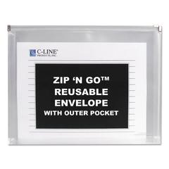 Zip n Go Reusable Envelope w/Outer Pocket, 13 x 10, Clear, 3/Pack