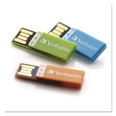 Clip-It USB 2.0 Flash Drive, 4GB, Blue/Green/Orange, 3/Pack