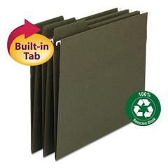 FasTab Recycled Hanging File Folders, Letter, Green, 20/Box