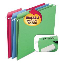 Erasable FasTab Hanging Folders, 1/3-Cut, Letter, 11 Point St, Assorted, 18/Box