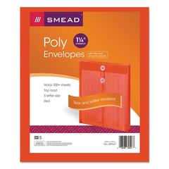 Poly String & Button Envelope, 9 3/4 x 11 5/8 x 1 1/4, Red, 5/Pack