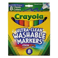 Washable Markers, Broad Point, Classic Colors, 8/Pack