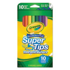 Washable Super Tips Markers, Assorted, 10/Pack