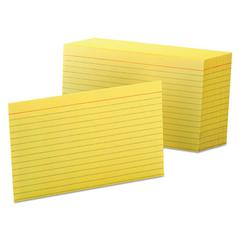 Ruled Index Cards, 4 x 6, Canary, 100/Pack