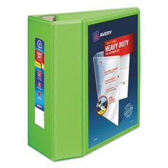 "Heavy-Duty View Binder w/Locking EZD Rings, 5"" Cap, Chartreuse"