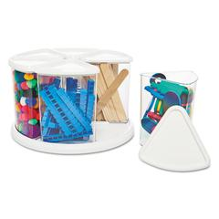 Six Canister Carousel Organizer, Plastic, 11 1/8 x 11 1/8, White/Clear