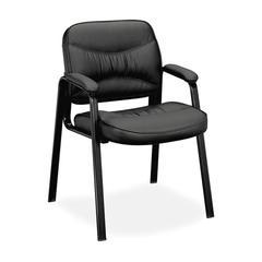 basyx VL640 Series Leather Guest Leg Base Chair, Black